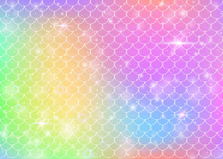 Princess mermaid background with kawaii rainbow scales pattern. Fish tail banner with magic sparkles and stars. Sea fantasy invitation for girlie party.