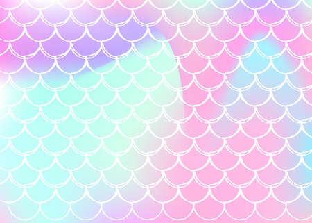 Gradient mermaid background with holographic scales. Bright color transitions. Fish tail banner and invitation. Underwater and sea pattern for girlie party. Vettoriali