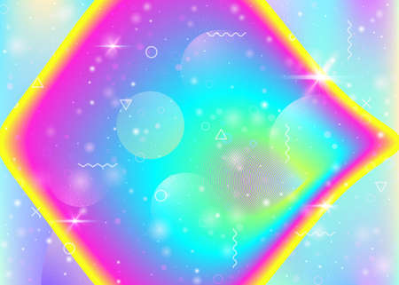 Hologram background with vibrant rainbow gradients. Dynamic fluid. Holographic cosmos. Design layout for placard, brochure and brochure. Neon hologram background.
