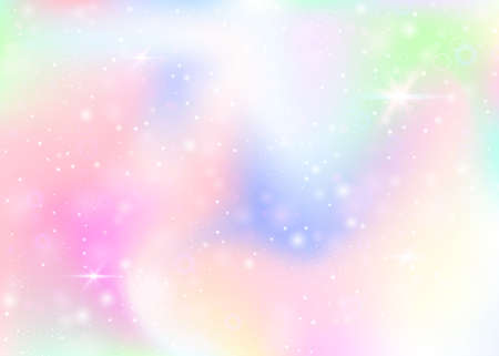 Magic background with rainbow mesh. Mystical universe banner in princess colors. Fantasy gradient backdrop with hologram. Holographic magic background with fairy sparkles, stars and blurs. Vettoriali