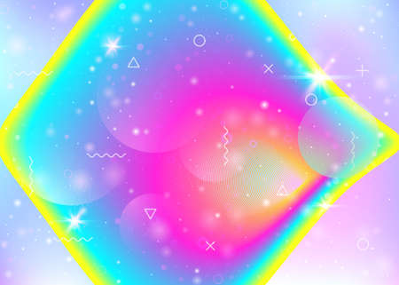 Rainbow background with vibrant gradients. Holographic dynamic fluid. Cosmos hologram. Design template for flyer, placard and poster. Girlish rainbow background.