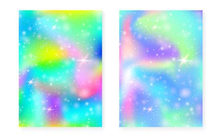 Princess background with kawaii rainbow gradient. Magic unicorn hologram. Holographic fairy set. Multicolor fantasy cover. Vettoriali
