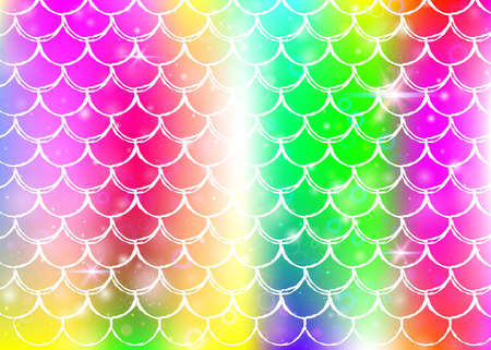Princess mermaid background with kawaii rainbow scales pattern. Fish tail banner with magic sparkles and stars. Sea fantasy invitation for girlie party. Rainbow princess mermaid backdrop. Vettoriali
