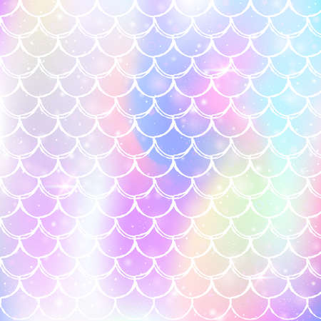 Kawaii mermaid background with princess rainbow scales pattern. Fish tail banner with magic sparkles and stars. Sea fantasy invitation for girlie party. Retro kawaii mermaid backdrop.