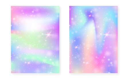 Kawaii background with rainbow princess gradient. Magic unicorn hologram. Holographic fairy set. Trendy fantasy cover. Kawaii background with sparkles and stars for cute girl party invitation.