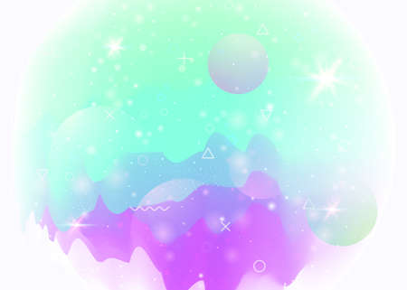 Universe landscape with holographic cosmos and abstract future background. Neon mountain silhouette with wavy glitch. 3d fluid. Futuristic gradient and shape. Memphis universe landscape.