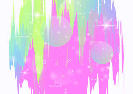 Future landscape with holographic cosmos and abstract universe background. Futuristic gradient and shape. 3d fluid. Girlie mountain silhouette with wavy glitch. Memphis future landscape.