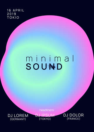 Music fest. Futuristic indie party magazine layout. Electronic sound. Night dance lifestyle holiday. Fluid holographic gradient shape and line. Summer poster and music fest flyer.
