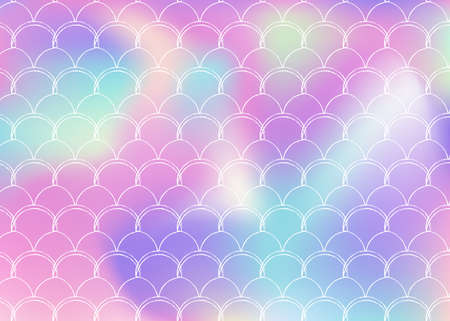 Holographic mermaid background with gradient scales. Bright color transitions. Fish tail banner and invitation. Underwater and sea pattern for girlie party. Trendy back with holographic mermaid.