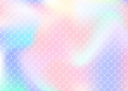 Gradient mermaid background with holographic scales. Bright color transitions. Fish tail banner and invitation. Underwater and sea pattern for girlie party. Plastic backdrop with gradient mermaid.