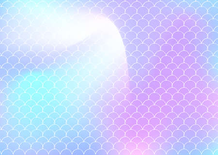 Mermaid scales background with holographic gradient. Bright color transitions. Fish tail banner and invitation. Underwater and sea pattern for girlie party. Futuristic backdrop with mermaid scales. Vettoriali