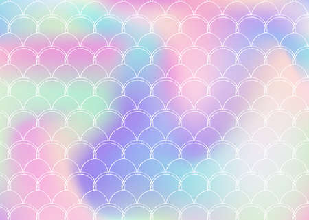 Gradient mermaid background with holographic scales. Bright color transitions. Fish tail banner and invitation. Underwater and sea pattern for girlie party. Multicolor backdrop with gradient mermaid.