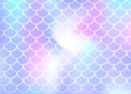 Holographic mermaid background with gradient scales. Bright color transitions. Fish tail banner and invitation. Underwater and sea pattern for girlie party. Iridescent back with holographic mermaid.