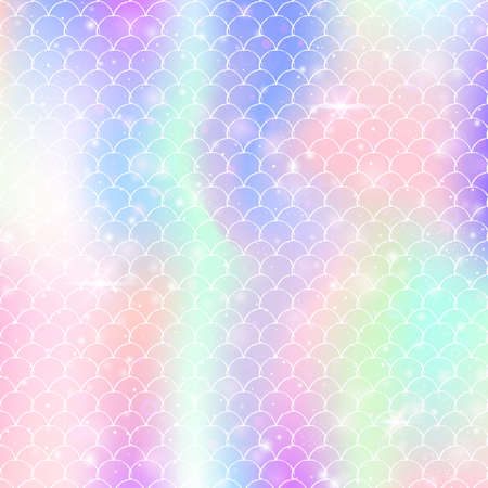 Kawaii mermaid background with princess rainbow scales pattern. Fish tail banner with magic sparkles and stars. Sea fantasy invitation for girlie party. Futuristic kawaii mermaid backdrop.