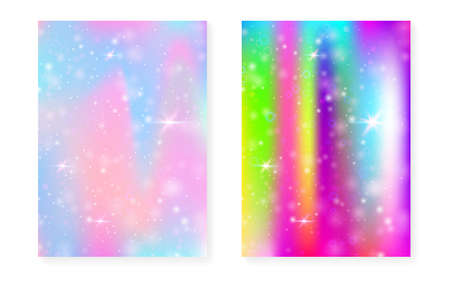 Unicorn background with kawaii magic gradient. Princess rainbow hologram. Holographic fairy set. Stylish fantasy cover. Unicorn background with sparkles and stars for cute girl party invitation.