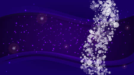 Falling snow with ultra violet snowflakes. New Year backdrop. Winter frame for gift coupons, vouchers, ads, party events. Christmas trendy background. Holiday snowy banner with falling snow