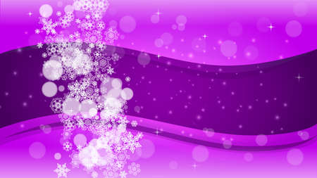 Snowflake border with ultra violet snow. New Year backdrop. Winter frame for flyer, gift card, party invite, retail offer and ad. Christmas trendy background. Holiday banner with snowflake border Stock Illustratie