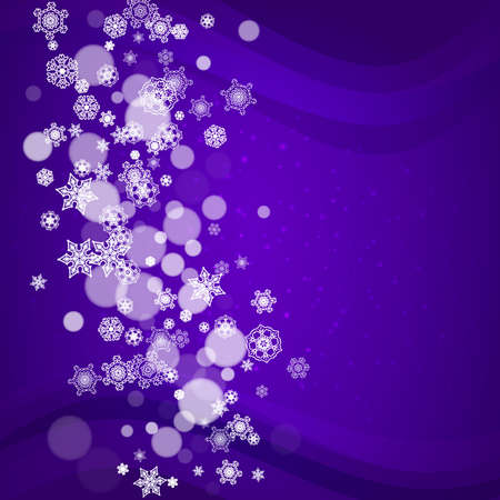 Snowflake border with ultraviolet snow. New Year backdrop. Winter frame for gift coupons, vouchers, ads, party events. Christmas trendy background. Holiday banner with snowflake border