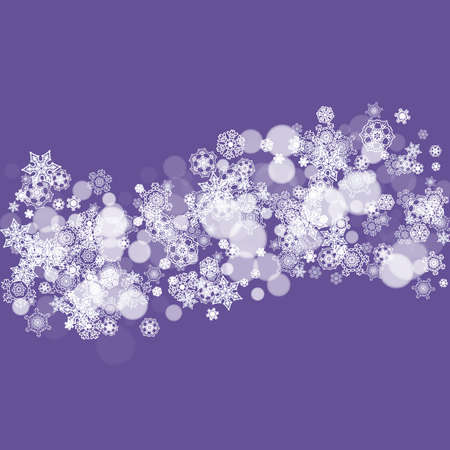Snow window with ultra violet snowflakes. New Year snowy backdrop. Winter border for gift coupons, vouchers, ads, party events. Christmas trendy background. Holiday banner with snow window Stock Illustratie