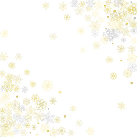 Gold snowflakes frame on white background. New year theme. Stylish shiny Christmas frame for holiday banner, card, sales, special offers. Falling snow with gold snowflakes and glitter for party invite