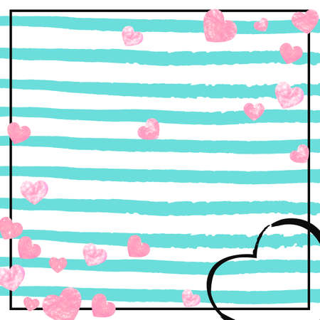 Pink glitter hearts confetti on turquoise stripes. Random falling sequins with glossy sparkles. Design with pink glitter hearts for greeting card, bridal shower and save the date invite.