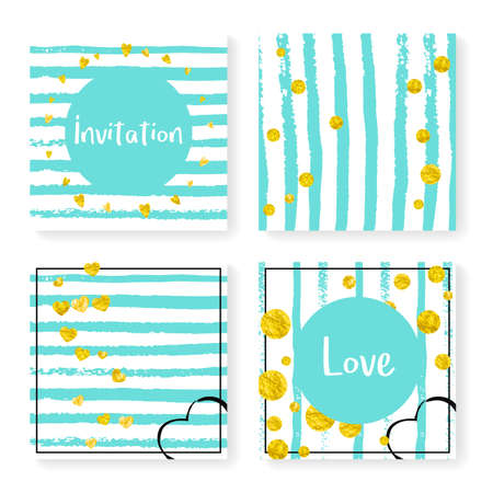 Polka Dot Background. Mint Nursery Particles. Stripe Abstract Card. Marriage Wallpaper. Glittery Design. Decorative Particle Set. Turquoise Grunge Effect. Golden Polka Dot Background