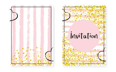 Modern Sequins. Rose Element. Christmas Stardust Set. Stripe Abstract Card. Pink Glowing Flyer. White Birthday Painting. Golden Rain Effect. Golden Modern Sequins Stock Illustratie