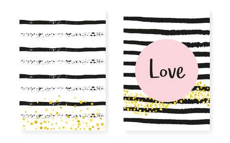 Heart Backdrop. Pink Branding Concept. White Abstract Stardust. Stripe Premium Offer. Save Date Illustration Set. Golden Simple Textile. Black Cover. Stripe Heart Backdrop Stock Illustratie