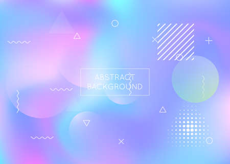 Liquid shapes background with dynamic fluid. Holographic bauhaus gradient with memphis elements.  Trendy liquid shapes background.