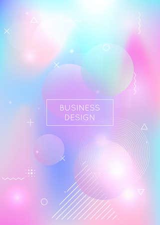 Fluid shapes background with liquid dynamic elements. Holographic bauhaus gradient with memphis.  Rainbow fluid shapes background. Stock Illustratie