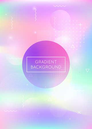 Fluid shapes background with liquid dynamic elements. Holographic bauhaus gradient with memphis.  Neon fluid shapes background. Stock Illustratie