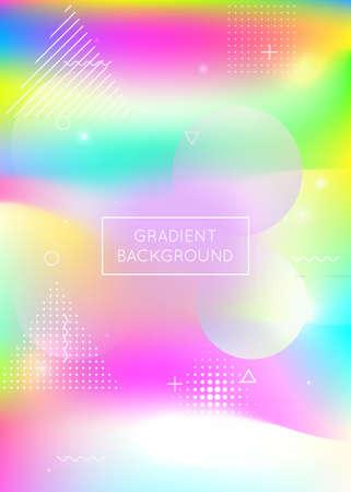 Memphis gradient background with liquid shapes. Dynamic holographic fluid with bauhaus elements.  Plastic memphis gradient.