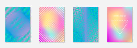 Poster design modern. Multiply notebook, banner, report, certificate mockup. Holographic. Poster design modern with minimalist geometric lines and shapes. Stock Illustratie
