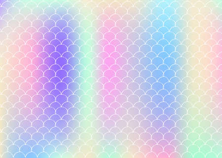 Holographic mermaid background with gradient scales. Bright color transitions. Fish tail banner and invitation. Underwater and sea pattern for girlie party. Multicolor back with holographic mermaid.
