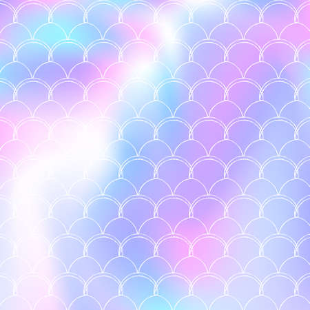 Gradient mermaid background with holographic scales. Bright color transitions. Fish tail banner and invitation. Underwater and sea pattern for girlie party. Rainbow backdrop with gradient mermaid. Vettoriali