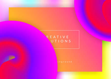 Liquid fluid. Creative banner, app template. Vivid gradient mesh. Holographic 3d backdrop with modern trendy blend. Liquid fluid with dynamic elements and shapes. Landing page.