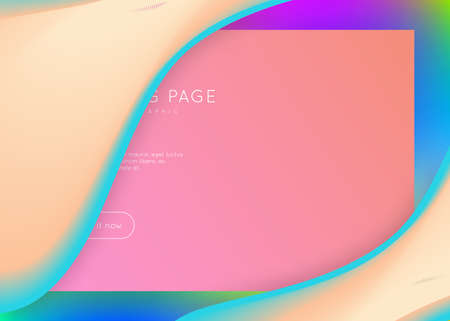 Liquid fluid. Holographic 3d backdrop with modern trendy blend. Vivid gradient mesh. Circle screen, interface layout. Liquid fluid with dynamic elements and shapes. Landing page.