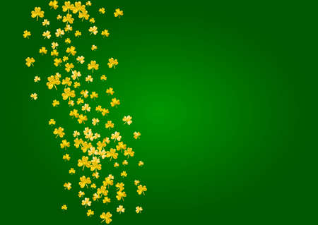 Saint patricks day background with shamrock. Lucky trefoil confetti. Glitter frame of clover leaves. Template for gift coupons, vouchers, ads, events. Festive saint patricks day backdrop.