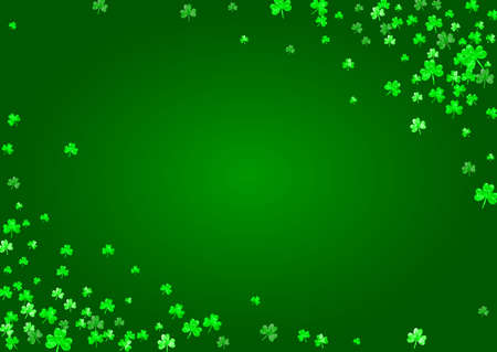 Saint patricks day background with shamrock. Lucky trefoil confetti. Glitter frame of clover leaves. Template for gift coupons, vouchers, ads, events. Irish saint patricks day backdrop.