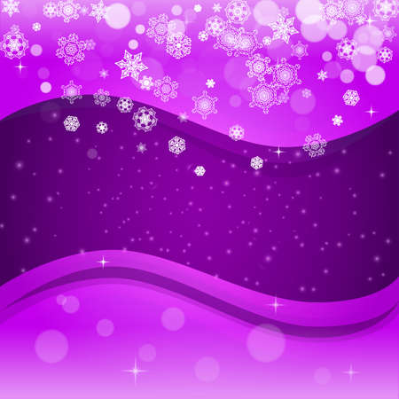 Snowflake banner with ultraviolet snow. New Year backdrop.  Christmas trendy background. Holiday banner with snowflake banner Stock Illustratie