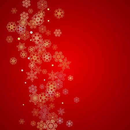 Christmas snow on red background.  Santa Claus colors with golden Christmas snow. Falling snowflakes for holiday Stock Illustratie