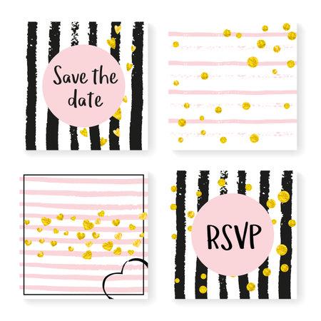Elegant Sparkle. Black Romantic Wallpaper. White Winter Illustration. Holiday Print. Golden Party Invite. Save Date Brochure Set. Stripe Birthday Frame. Stripe Elegant Sparkle