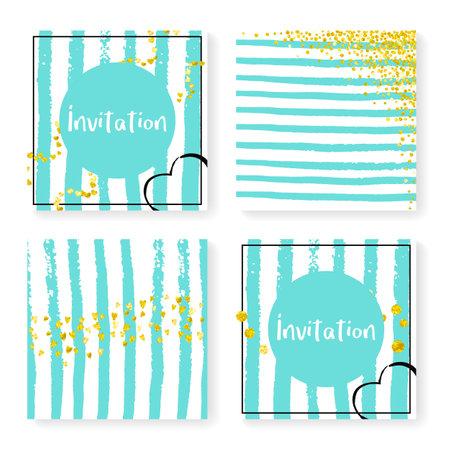 Elegant Banner. Festive Textile. Scrapbook Brochure Set. Turquoise Abstract Element. Stripe Rain Invite. White Stylish Painting. Scatter Stardust. Golden Elegant Banner