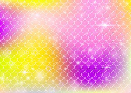 Princess mermaid background with kawaii rainbow scales pattern. Fish tail banner with magic sparkles and stars. Sea fantasy invitation for girlie party. Vibrant princess mermaid backdrop. Vettoriali