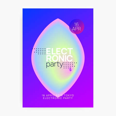 Music flyer. Electronic sound. Night dance lifestyle holiday. Geometric indie club invitation design. Fluid holographic gradient shape and line. Poster for summer fest and music flyer.