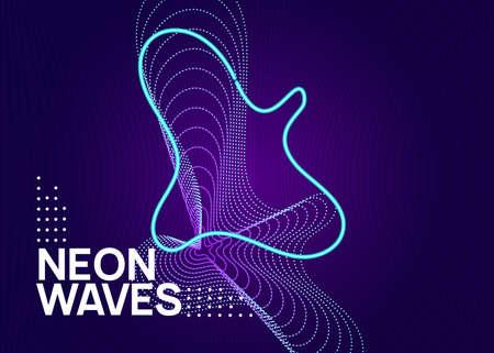 Neon electronic party flyer. Electro dance music. Techno fest ev