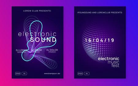 Neon flyer trance event. Techno dj party. Electro dance music. E