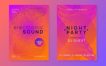 Neon club flyer. Electro dance music. Trance party dj. Electroni Illusztráció