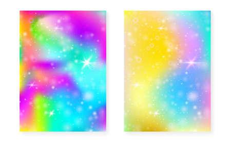Magic background with princess rainbow gradient. Kawaii unicorn