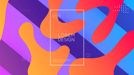 Futuristic Banner. Wave Modern Poster. Gradient Design. Memphis